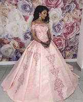 2020 Ombros New fora de uma linha Pageant Vestidos Prom Vestidos Doce 16 Appliqued cheia do laço rosa Vestidos Quinceanera