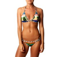 Yeni Varış Palm Baskı Seksi Kadınlar Bikini Set Artı Boyutu Şınav Mayo Yastıklı Banyo Beachwear Toptan Mayo