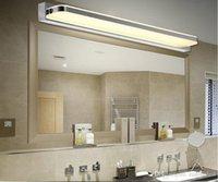 Acrylique LED salle de bains Miroir lumineux SMD5050 Mini style mur LED imperméable à l'eau avant Coiffeuse appliques en acier inoxydable a conduit la lumière