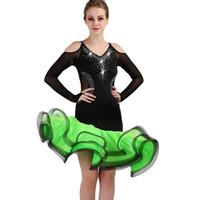 Competencia de baile latino vestidos mujeres samba rumba tango vestido de baile latino flecos borla verde negro lq088
