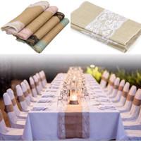 Leinen Spitze-Tabellen-Flagge Banner Vintage-Naturjute Hochzeit Dekoration Tischdecken Hochzeit Stuhl-Abdeckung Weihnachten Home Decoration
