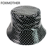 FOXMOTHER New Black bianco pois pescatore Cappelli Secchio Cappelli delle signore delle donne