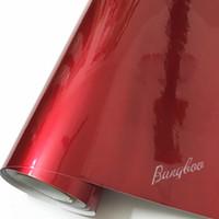 1.52x20 m Yüksek Kalite Premium Kırmızı Parlak Metalik Parlak Sticker Çıkartması Vinil Wrap Air Release Ücretsiz