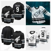 Pas cher 2019 All Star Jerseys Hommes Arizona Coyotes 9 Clayton Keller Hommes Noir Blanc Blanc Top Qualité 2019 All-Star Patch Hockey Jersey