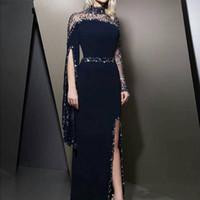 2020 NOUVEAU Collet High Col Navy Blue Soirée Robes de soirée Kaftan Dubaï Perlé De longues manches de guiche de fête modeste robe de Soirée Split Bal Robe 811