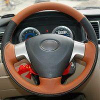 トヨタカローラ2006-2010カラーカバーの上のレザーステアリングホイールハンドステッチ2006-2010 Corolla EX 2007-2013
