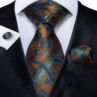 Fast Shipping Silk Tie Set Gold Blue Striped Men's Wholesale Classic Jacquard Woven Necktie Pocket Square Cufflinks Wedding Business N-7183