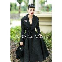 Le Palais Vintage eleganter Retro-Wollmantel aus 100% Wolle mit Revers-Taillenrock