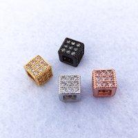 수제 보석 팔찌 보석 만들기의 매력 스페이서 비즈 DIY 액세서리 CT517에 대한 기하학적 광장 CZ 지르코니아 비즈