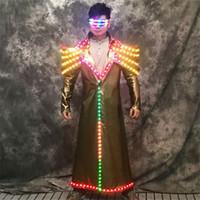 P70 Colourful ha condotto la luce costumi di scena danza indossa dj giacca luminosa partito eseguire gli uomini robot vestito bar vestire abiti incandescente dj spettacolo partito