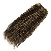 120g Haarspange in verworrener lockiger Schokolade braun # 4 mit Karamell # 27 zwei Clips in Haarverlängerung Ton ombre gemischt