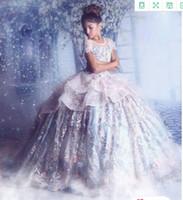 2020 платье кружева аппликация бальное платье девушки цветка платья Vintgae Pearl бисера Спагетти Fiormal Девушка партии День рождения Общение