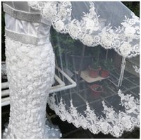 Beaded Flower Lace Knee length Veil With Comb Soft Tulle Vei...