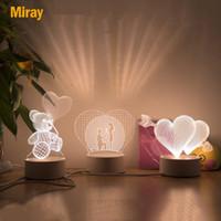 Amor romântico Lâmpada 3D Balão em forma de coração Acrílico LED Night Light Tabela Decorativa Lâmpada Interior Dia dos Namorados Presente da Esposa Sweetheart