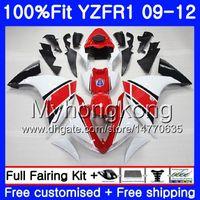 Injection pour YAMAHA blanc brillant YZF 1000 R 1 YZF-1000 YZFR1 09 10 11 12 241HM.21 YZF R1 YZF1000 YZF-R1 2009 2010 2011 2012 Kit de carénage