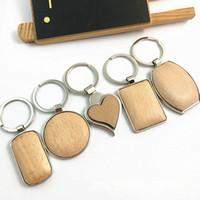 Metal Madera Llaveros Llavero redondo del anillo del corazón simple rectángulo de bricolaje en blanco de madera colgante llave del coche Holder Moda regalos Llaveros Accesorios