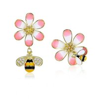 925 Silver Earrings For Women Enamel Flower With Bee Asymmet...
