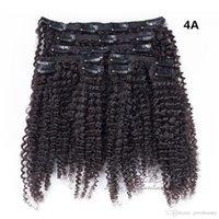 머리에 100g 120g 140g 4A 아프리카 변태 곱슬 클립 확장 유행 소프트 실키 100 % 천연 블랙 페루 버진 인간의 머리카락을 부드럽게 짜