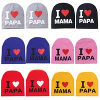 22 أنماط لطيف دافئ طفل محبوك القبعات طفل أزياء رسالة مطبوعة أنا أحب بابا ماما قبعة كاب Outdoot الاطفال سفر هات M2239