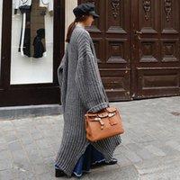 LANMREM 2019 осень зима Новая мода Темперамент женщин Сыпучие вскользь Толстая шерсть над коленом Длинный кардиган свитер TC207 CJ191220