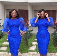 Royal Blue Plus Size abiti da ballo sirena con maniche lunghe poise Cocktail Party Dress Girocollo Abiti da sera africani
