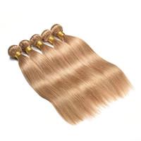 BeautyStarQuality Honey Blonde Светло-русый Естественная прямая волна бразильского Виргинские человеческих волос Пучки перуанский Extensions волос