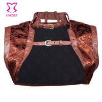 갈색 섹시한 브로케이드 및 인조 가죽 Steampunk 코르셋 여성 자켓 플러스 사이즈 고딕 의류 Burlesque 의상 액세서리 J190701