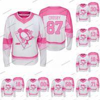 Gençlik Sidney Crosby Pittsburgh Penguins 2019-20 Jersey Fishion Kız Kris Letang Jake Guentzel Evgeni Malkin Alex Galchenyuk Patric Hornqvist