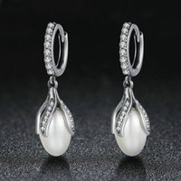 Brand New S925 Real Silver Ear Stud Natural Fresh Water Pear...