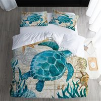 Copripiumini Twin FUll Queen King Size Quilt Covers seaweed sea turtle cartoon Stampato con Coppia Federe Coprire 3 PZ set di biancheria da letto