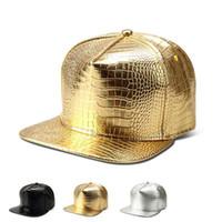 serpiente patrón sólido de la PU del snapback de cuero de hip-hop gorra de béisbol plana sombrero de danza de la calle de plata de oro brillante actuación de los hombres gorra de RH