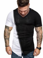 Mens PU Patchwork Summer Tshirts Designer Man Zipper V- Neck ...