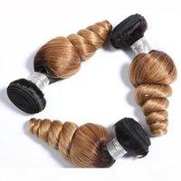T1B 27 en vrac vague Bundles Brésil 2 Tone Ombre Human Hair Weave 3 4 PCS noir à la lumière Blown Spring Curl cheveux en vrac