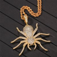 Hiphop Spider Pendant Necklace Bling Cubic Zircon Mens Hip H...