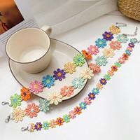 Mode meisjes handgemaakte kant choker ketting kleurrijke zonnebloem verklaring kettingen sieraden voor vrouwen charme partij sieraden