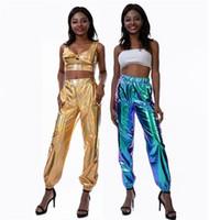 Hip Hop para mujer pantalones de diseño de Street Style laser de la manera eficaz flojos Partido de los pantalones y pantalones de las mujeres del club