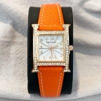 PABLO RAEZ Special Luxury Watch High-Grade Designer Diamond Genuine Leather Lady Dress Orange Jewelry Women Wristwatch Fashion Style Girl Gift Elegant Female Clock