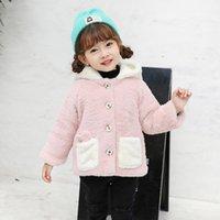 Bambino adolescente inverno cartone animato folto bambini parka bambini ragazze faux pelliccia in pelliccia in pile orecchio con cappuccio cappotti caldi giacche vestiti