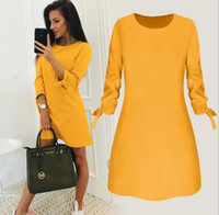 2019 female spring new fashion solid color dress casual O- ne...