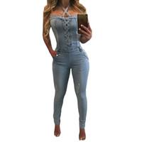 여성용 jumpsuits rompers 데님 바지 여성 섹시한 고삐 청바지 정사각형 목 민소매 playsuits 몸 womens jumpsuit