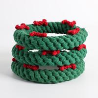 الأخضر دائرة مضغ اللعب مع حبل العظام الديكور عيد الميلاد اكليلا من الزهور لعبة الكلب مضغ لعبة تفاعلية الكلب لعبة عيد الميلاد لكلب جرو هدايا عيد الميلاد