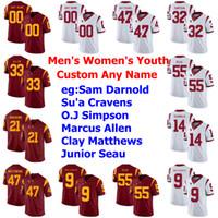 Personalizados USC Trojans Jerseys Womens Junior Seau Jersey Reggie Bush Matt Barkley Adoree' Jackson Kedon Slovis College Football Jerseys costurado