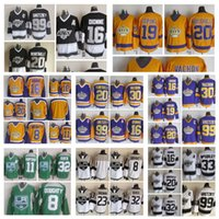 Mode Rétro Los Angeles Kings Maillots Wayne Gretzky Marcel Dionne Tiger Williams Jonathan Quick Hommes Cousu Throwback Hockey Maillots