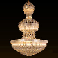 Grand luxe européen lustres en cristal lumière villa hôtel lobby led lampes suspendues lampes or américain longue lustre en cristal éclairage