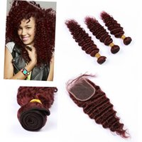 """Indio de la onda profunda paquetes de pelo con el encierro 4"""" * 4"""" # 99J Virgen paquetes de pelo con cierre gratuito"""