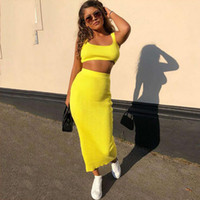 Two Piece Set Ribbed Crop Top and Midi Skirt Set Matching Se...