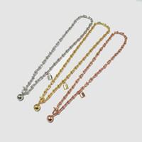 Титан стали ювелирные изделия T буква U-образный замок цепи мяч кулон двойной круг обмоткой ожерелье для женщины