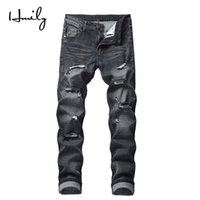 HMILY Mens Skinny Jeans Uomo Slim Fit Hole Biker Strappato Denim Hip Hop Moto Rock Rap Jeans Big Size 42 Pantaloni