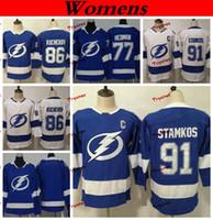 Damen Tampa Bay Lightning 2019 77 Victor Hedman 86 Nikita Kucherov 91 Steven Stamkos Eishockey Trikots Günstige Kinder Damen Mädchen Genähte Hemden