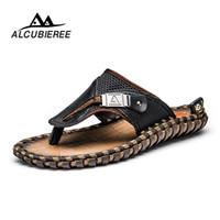 ALCUBIEREE Marke männer Freizeitschuhe Aus Echtem Leder Sandalen Männer Flip Flops Verschnaufpause Hausschuhe Plus Größe Sommer Sapato Masculino
